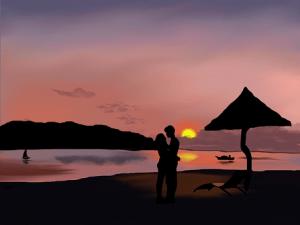 where to work - beach scene