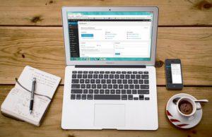 llaptop with wordpress open