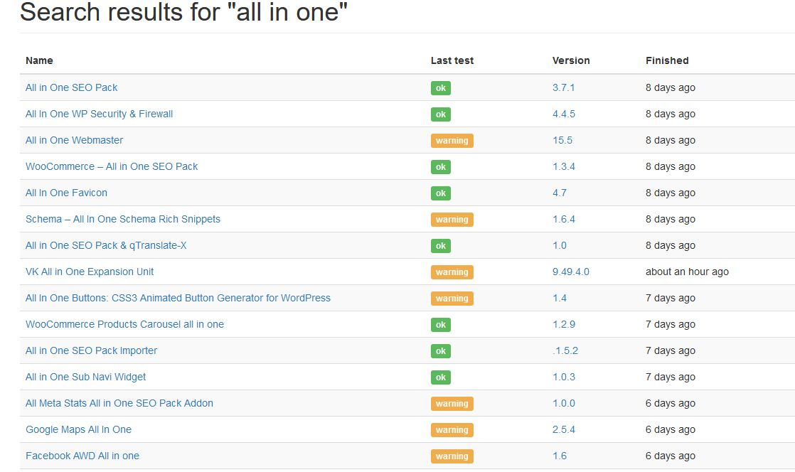 added a search for all in one and it brings up a list of the similar named plugins for you to choose from