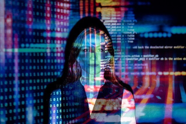 data over face of woman - representing Google masses of data